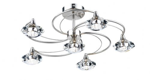 Dar Luther 6 Light Semi Flush complete with Crystal Glass Satin Chrome LUT0646